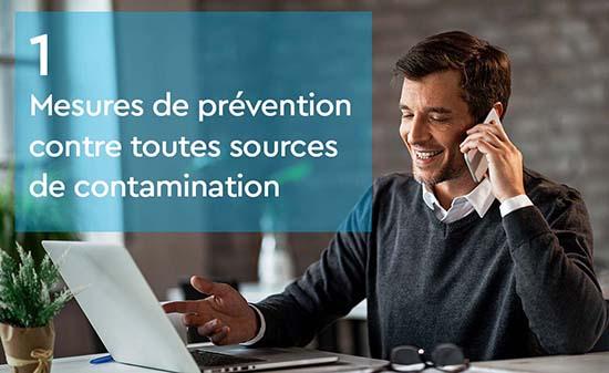 Mesures de prevention contre toutes sources de contamination - teletravail